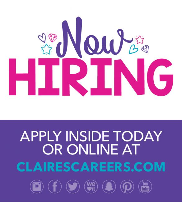 claire s now hiring poughkeepsie galleria