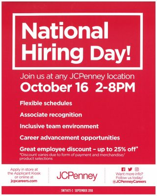 JCP-National-Hiring-Day-10.16.18-320x400 Job Application Form Jcpenney on sonic printable, blank generic, free generic, part time, big lots,