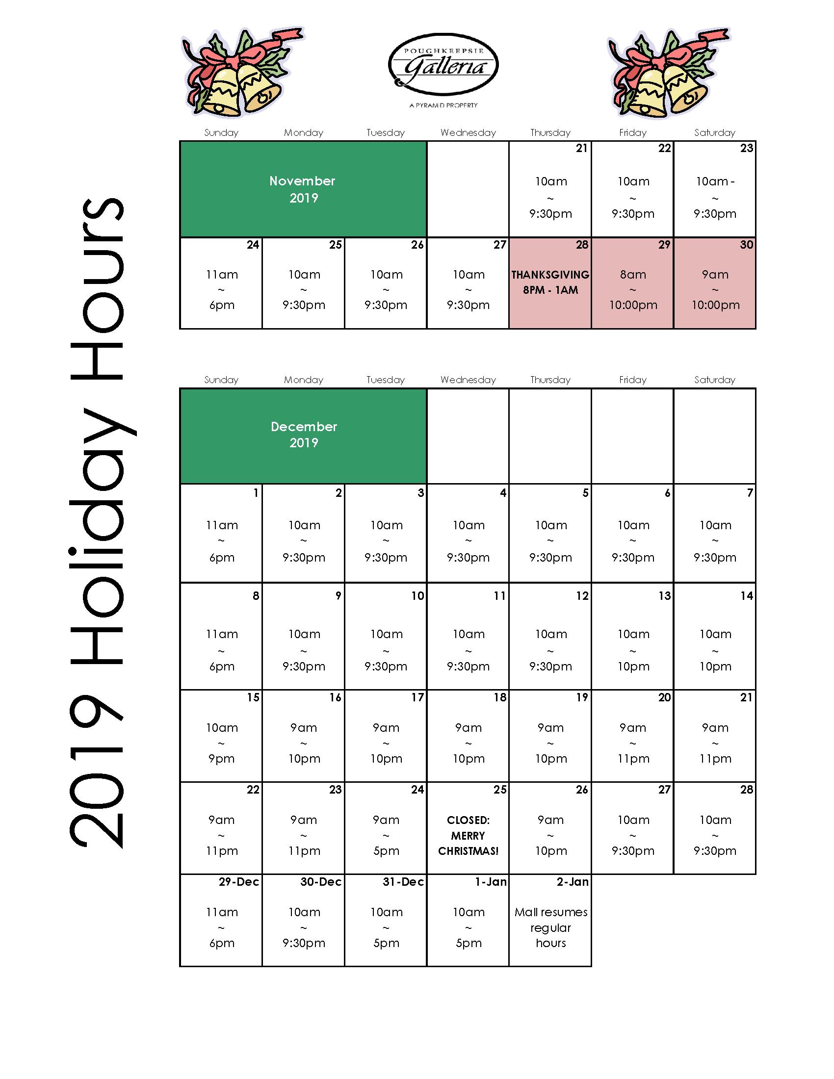 Poughkeepsie Galleria Holiday Hours 2019